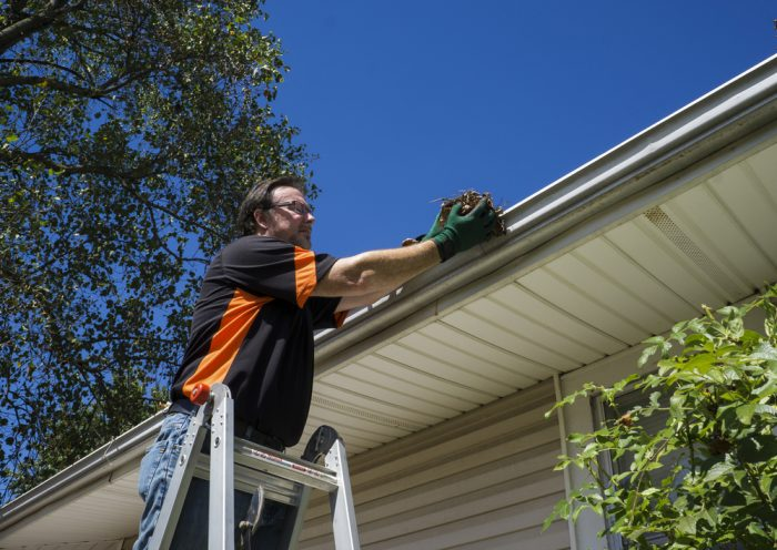 A man on a latter cleaning his gutters