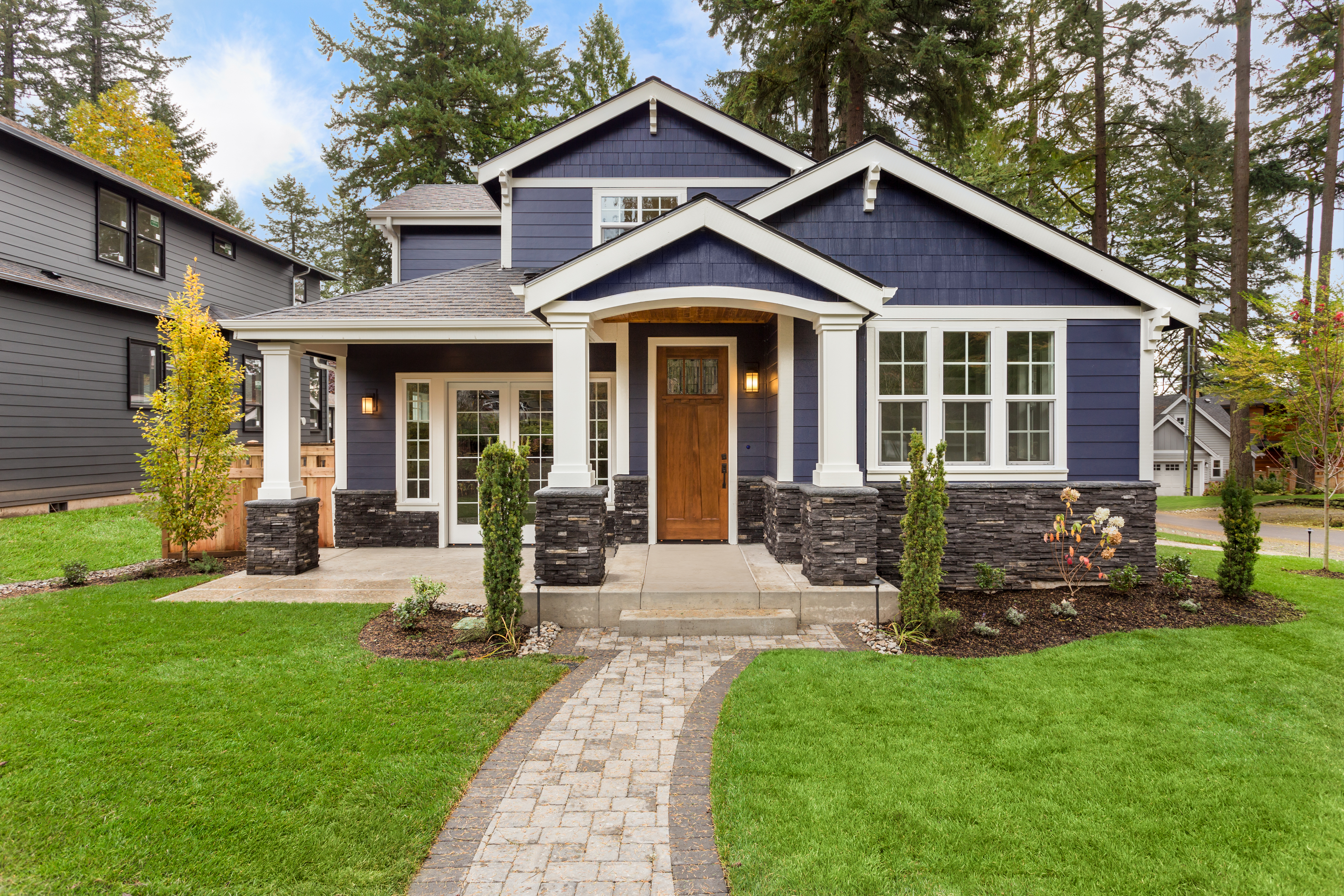 Beautiful exterior of newly built luxury home.